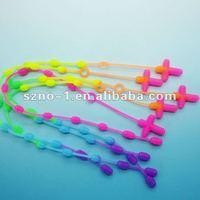 Cute Rainbow Color Rosary elastic silicon band