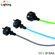 Flat 2 pin extension cord with three pin plug with colorful braided wire for Australia SAA