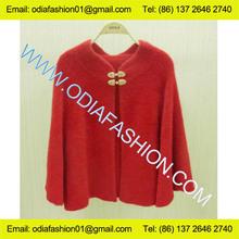 De lana/de acrílico de la moda de las señoras de diseño poncho rojo cardigan sweater con estilo retro