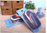 Creative personality shark pencil case a large canvas students pen bag combination lock