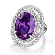 fashion jewelry women colorful amethyst stone gold filled rings 2015