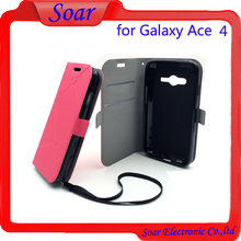 Factory Wholsale Excellant Fold Flip Cover Case for Samsung Galaxy ACE 4