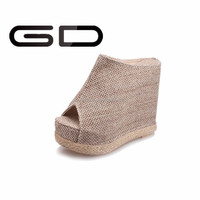 Wholesale hemp rope high waterproof open toe wedge heel sandals