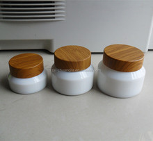 wholesale opal white cream glass jar with bamboo-like AB screw top lid