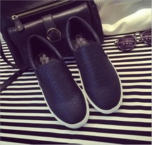 D16585A 2015 Alligator Pattern thicken sole flats shoes black casual shoes for ladies