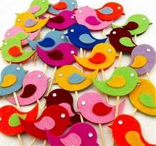 10 Handmade Felt Bird Cupcake Topper Cake Decorations Birthday Baby Shower