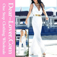 Sexy design club wear 2015 summer women White Hollow out Jumpsuit