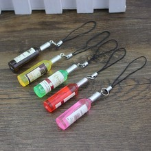 2015 new arrival unisex handwork emulate mini bottle pendant decoration for phone key cartoon glass creative cell accessories