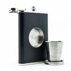 8oz Hip Flask with a Built-in Collapsible Shot Glass