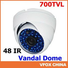 New 700TVL SONY CCD Vandalproof White Dome 48IR Blue LED 3.6MM Lens Camera
