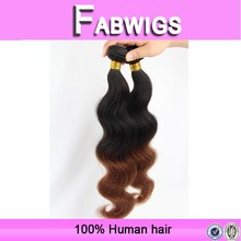 Aliexpress hotsale 7A quality wholesale cheap ombre hair weave, wholesale malaysian colored two tone hair weave