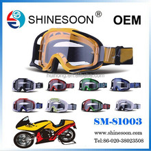 2015 hot sale clear lens motorcross goggle with tear off for motorcycle