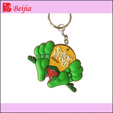 China lovely custom 3d foot design soft pvc rubber keychain as advertising gift