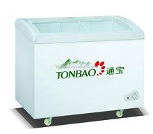 260L curved sliding glass door ice cream showcase chest freezer