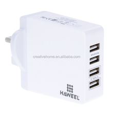 HAWEEL 4 Ports USB Max 3.1A Travel Wall Charger for Android & Apple Mobile Phones, UK Plug