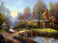 water town landscape scenery oil painting