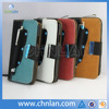 Hot selling in stock leather cover for samsung galaxy s4 leather case with stylus holder