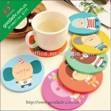 Round cute design PMS 3D cup mat soft pvc coaster