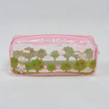 Eco-friendly custom no fading offset printing PVC plastic pencil case with zipper