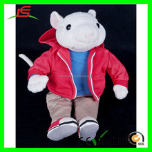 E338 Cute Wearing Cloth 25cm Animal Stuffed Stuart Little Plush Toy