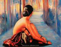 Framed sexy chinese girl nude canvas oil painting