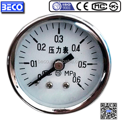 Y-40D Cost-effective Chrome plated case bourdon tube water pressure manometer