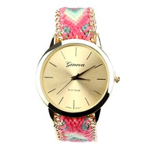 2015 fashion new woven watches for lday