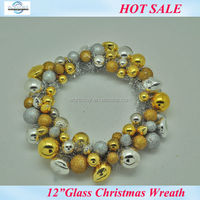 """8"""" Antique glass christmas wreath with golden & silver Christmas ornaments"""