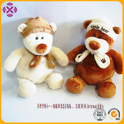 promotional cheap plush teddy bear with hat and scarf