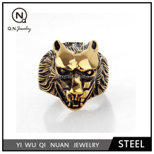 Jewelry Men's Stainless Steel Gold Color Rings, Wolf Style