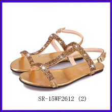 SR-15WF2612 (2) new stylish fashion flat sandals for ladies pictures women new design flat sandals golden lady flat sandals