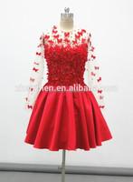 MC-E360 Long Sleeve Short Dresses with Flower Long Sleeve Dresses