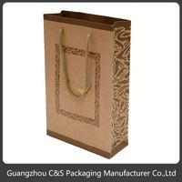 Luxury Hot-Stamping Low Price Red Metallic Paper Gift Bags