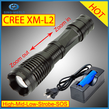 Water Resistant Camping Torch Adjustable Focus Zoom Tactical Light Lamp for Outdoor Sports