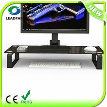 Practical detachable glass desktop computer shelf