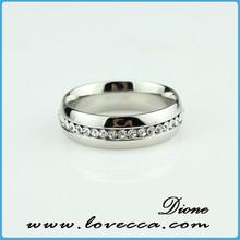 Custom stainless steel jewelry women fashion crystal wedding ring