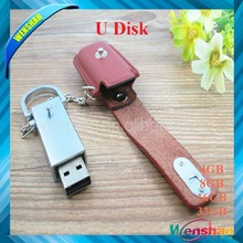Wholesale china leather USB flash drive with keychain,Leather USB stick,PU USB flash drive with key ring for gifts and promotion
