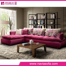 2015 New simple pink divan high density Sponge sofa modern