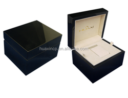 Black Glossy Lacquered Beige PU Wooden Watch Box