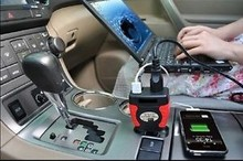 75W 12V DC to 220V AC car power inverter USB converter charger laptop adapter