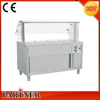 High quality Cooking equipment commercial 4-tank gas bain marie prices with cabinet