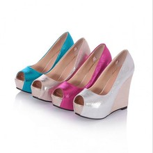 SAA4382 Sweet candy color peep toe comfortable roman ladies wedge shoes