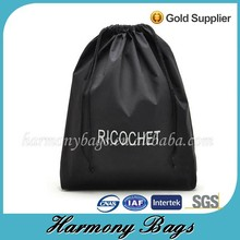 Low cost Eco friendly black cotton Drawstring Bag