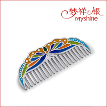Fashion Cloisonne Enamel 990 Sterling Silver Hair Comb for Gift