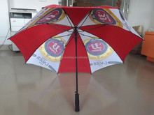 Top Quality Beer Logo Printed Promotional Golf Umbrella Red And White