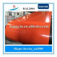 Prime 40-280g/m2 0.48*1200, RAL2004 pre-painted galvanized steel sheet in coil used for roofing sheet, building material