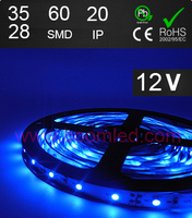 60SMD LED light IP44 ip20 led strip light FL3528 led strip bule color 12VDC