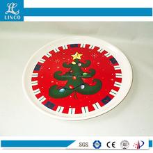 2016 Food Safe Christmas Tree Printing Plastic Round Plate