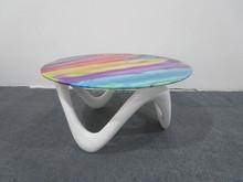 2015 new design fiberglass Base Glass Top Coffee Table