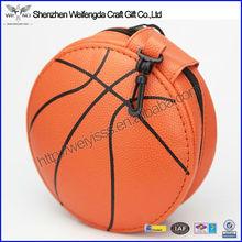 2015 New basketball Design leather round zipper fancy cd dvd case